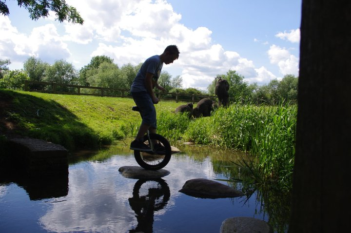 Unicycle Munday water hopping
