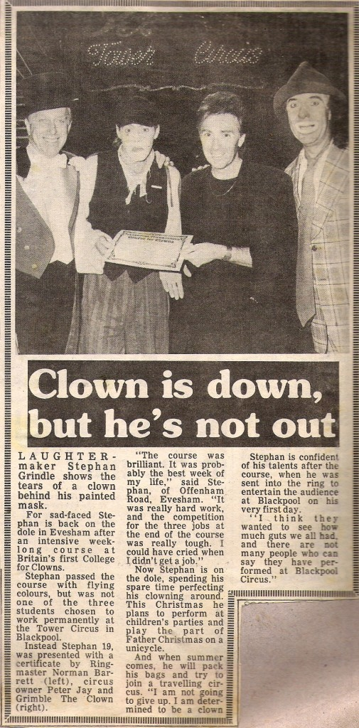Dingle Fingle Blackpool Tower Circus 1985 press clipping